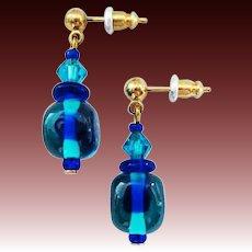 MOD Czech Art Glass Earrings, RARE 1970's Czech Glass Beads, Teal & Cobalt Blue