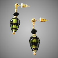 STRIKING German Art Glass Earrings, SCARCE Olivine & Black German Glass Beads