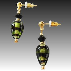 STRIKING German Art Glass Earrings, SCARCE Olivine & Black German Glass Beads