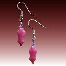 STRIKING Pink Czech Art Glass Earrings, RARE 1950's Czech Pressed Glass Beads