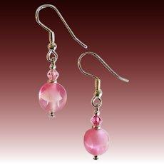 STUNNING Pink Czech Art Glass Earrings, SCARCE 1950's Frosted Czech Glass Beads
