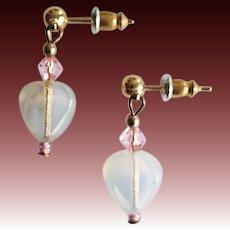 STUNNING Czech Art Glass Earrings, RARE 1960's Czech Glass Heart Beads