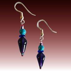 MOD Czech Art Glass Earrings, RARE 1960's Purple Czech Glass Beads