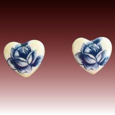 STUNNING White Czech Art Glass Pierced Earrings, RARE 1960's Czech Glass Beads, Heart Beads