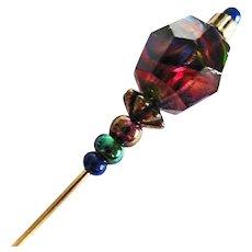 STUNNING German Art Glass Stick Pin, RARE 1940's German Faceted Glass Bead, Hat Pin