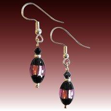 DAZZLING Czech Art Glass Earrings, Rare 1970's Czech Silver Foil Glass Beads, Black & Purple