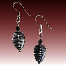 MOD Czech Art Glass Earrings, RARE 1970's Czech Satin Glass Beads, Purple & Black Stripes