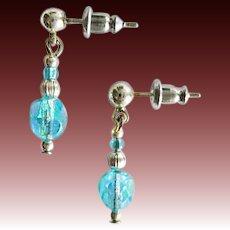 STUNNING Czech Art Glass Beads, RARE 1950's Faceted Czech Glass Beads, Aquamarine Aurora Borealis Glass Beads, AB Beads