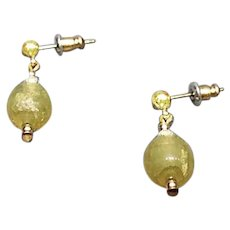 STUNNING Venetian Art Glass Earrings, RARE 1920's Venetian 24K Gold Foil Glass Beads