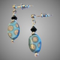 STRIKING Venetian Glass Earrings, RARE 1930's Art Deco Venetian Beads, Satin Glass