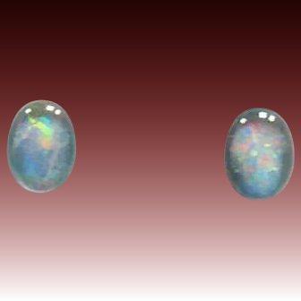 EXQUISITE German Fire Opal Glass Earrings, RARE 1940's German Opal Glass Beads