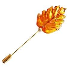 ELEGANT Venetian Art Glass Stick Pin, 24K Gold Foil Murano Glass Bead, Topaz Leaf, Hat Pin