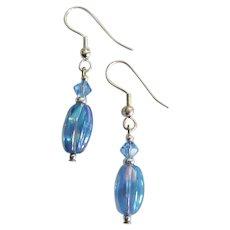 SHIMMERING Czech Art Glass Earrings, Rare 1960's Iridescent Sapphire Czech Glass Beads