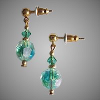 STUNNING Austrian Crystal Earrings, RARE 1950's Austrian Crystal Aurora Borealis Glass Beads