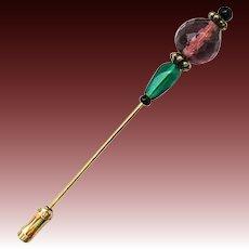 GORGEOUS Czech Art Glass Stick Pin, RARE 1940's Purple Czech Glass Bead, Hat Pin