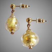 STUNNING Venetian Art Glass Earrings, 24K Gold Foil Murano Glass Beads
