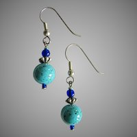 MOD Turquoise Czech Art Glass Earrings, RARE 1960's Czech Glass Beads