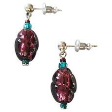 STUNNING Purple Venetian Art Glass Earrings, RARE 1940's Venetian Silver Foil Glass Beads