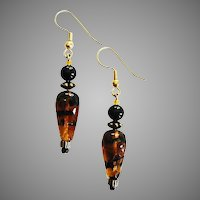 MOD Czech Art Glass Earrings, SCARCE 1960's Czech Tiger Stripe Glass Beads