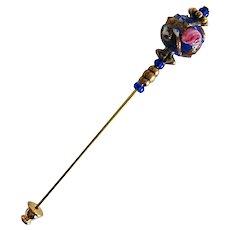 STUNNING Blue Venetian Art Glass Stick Pin, RARE 1940's Aventurina Wedding Cake Bead, Hat Pin