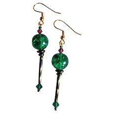STRIKING Green German Art Glass Earrings, RARE 1960's German Crackle Glass Beads