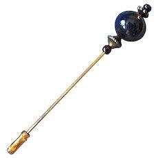 STUNNING Venetian Art Glass Stick Pin, RARE 1940's Aventurine Murano Glass Bead, Hat Pin