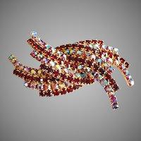 Rare SIGNED Kramer Spray Rhinestone Gold Tone Brooch, Mid-Century Pin, Vintage Art Glass, Red Rhinestones, Pink Aurora Borealis Rhinestones
