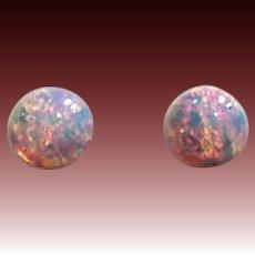 GORGEOUS German Fire Opal Glass Earrings, RARE 1940's German Fire Opal Glass Beads