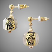 GORGEOUS Venetian Art Glass Earrings,Black 24K Gold Foil Murano Glass Beads