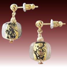 GORGEOUS Venetian Art Glass Earrings,Black 24K Gold Foil Murano Glass Beads