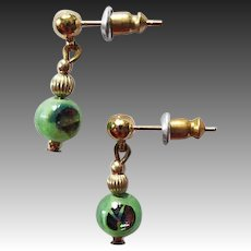 STUNNING Venetian Art Glass Earrings, RARE 1920's Venetian 24K Gold Foil Glass Beads