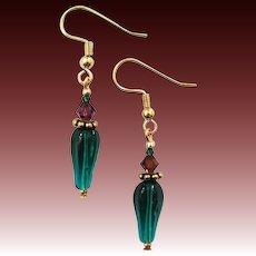 GORGEOUS Czech Art Glass Earrings, RARE 1930's Art Deco Czech Glass Beads