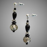STUNNING Venetian Art Glass Earrings, RARE 1800's Silver Foil Antique Venetian Glass Beads