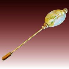 STUNNING Art Deco Venetian Glass Stick Pin, RARE 1930's Gold Foil Venetian Glass Bead, Hat Pin