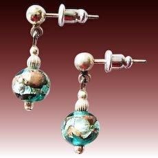 STUNNING Teal Venetian Art Glass Earrings, RARE 1800's Silver Foil Antique Venetian Glass Beads