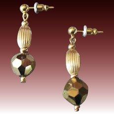 DAZZLING Czech Art Glass Earrings, RARE 1960's Faceted Gold Metallic Czech Glass Beads