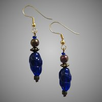 STRIKING Czech Art Glass Earrings, RARE 1960's Blue Czech Glass Beads