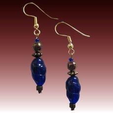 STRIKING Czech Art Glass Earrings, RARE 1960's Blue Czech Glass Beads