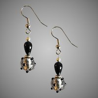 DAZZLING Venetian Art Glass Earrings, Black and Silver Foil Murano Glass Beads