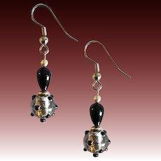 DAZZLING Venetian Art Glass Earrings, Black and Silver Foil Murano Glass Beads