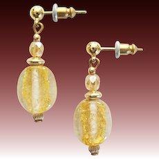 STUNNING Venetian Art Glass Earrings, 24K Gold Foil Murano Glass Beads, Vintage Crystal Beads