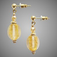 STUNNING Venetian Art Glass Earrings, 24K Gold Foil Murano Glass Beads, Vintage Crystal Beads
