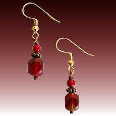 STUNNING Czech Art Glass Earrings, RARE 1950's Czech Satin Glass Beads