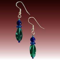 GORGEOUS Teal Czech Art Glass Earrings, RARE 1940's Czech Glass Beads