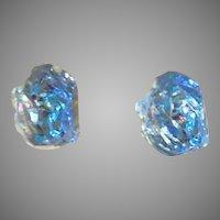 SHIMMERING Czech Art Glass Earrings, Rare 1960's Iridescent Czech Glass Beads