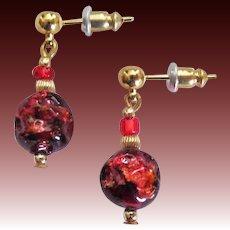 GORGEOUS Venetian Art Glass Earrings, RARE Antique 24K Gold Venetian Glass Beads