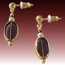 STUNNING Czech Art Glass Earrings, RARE 1930's Art Deco Czech Glass Beads