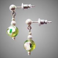 STUNNING Venetian Art Glass Earrings, RARE 1920's Venetian Peridot Silver Foil Glass Beads