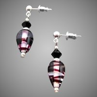 STRIKING German Art Glass Earrings, SCARCE Purple Swirl German Glass Beads