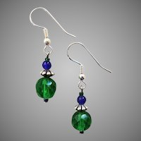 GORGEOUS Czech Art Glass Earrings, RARE 1950's Faceted Czech Glass Beads